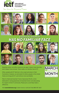 Visual of poster for National Essential Tremor Awareness Month 2018